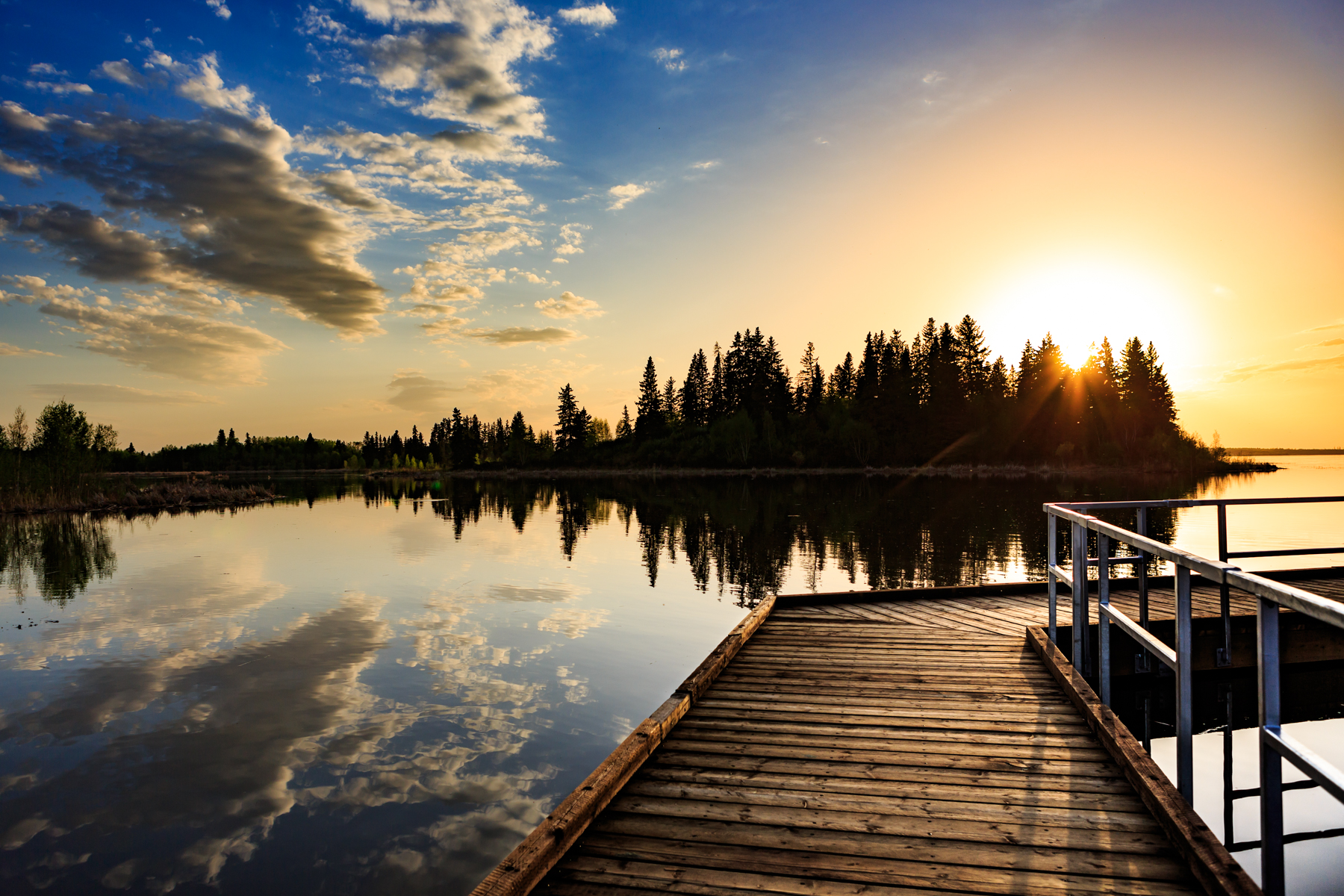 Living Waters Boardwalk Sunset Astotin Lake Elk Island National Park Alberta