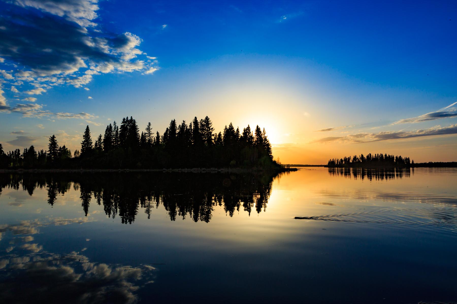 Sunset Astotin Lake Elk Island National Park Alberta